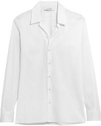 IRO Anja Rubik Tamie Cotton And Silk Blend Shirt Off White
