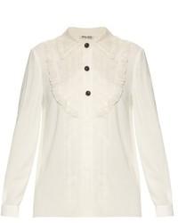 Miu Miu Crepe Shirt With Silk Organza Trim