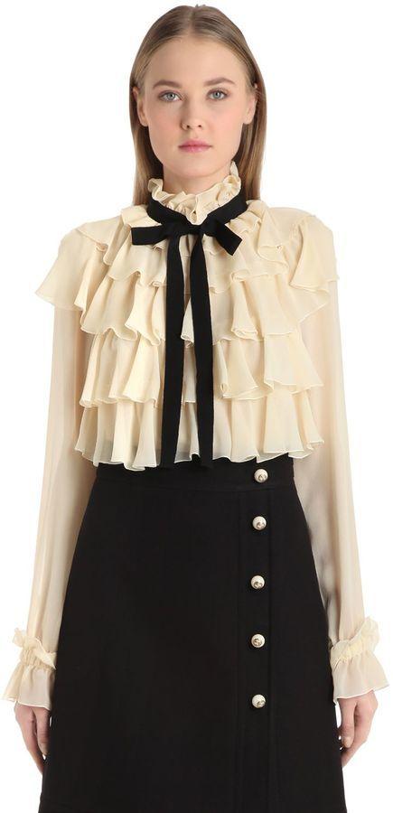 d450925bc6b555 Gucci Ruffled Silk Georgette Shirt With Bow, $1,900 | LUISAVIAROMA ...