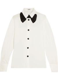 Miu Miu Satin Trimmed Silk Crepe De Chine Shirt Off White