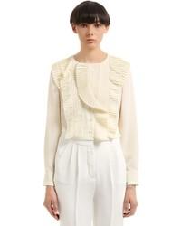 Salvatore Ferragamo Silk Crepe De Chine Shirt W Ruffles