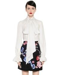 Temperley London Bow Collar Ruffled Silk Satin Shirt