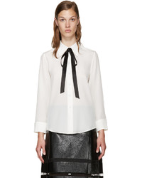 Marc Jacobs White Silk Tie Shirt