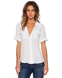 Slim signature short sleeve blouse in white medium 210662