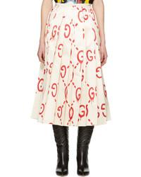 Gucci Ivory Silk Gg Skirt