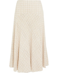 Alexander McQueen Metallic Tweed Midi Skirt Ivory