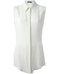 White Silk Sleeveless Button Down Shirts for Women | Women's Fashion