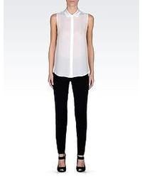Giorgio Armani Silk Shirt With Satin Collar