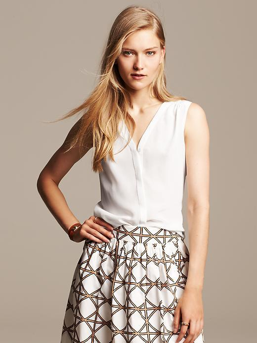 f21a9f87d087f0 ... Banana Republic White Silk Sleeveless Blouse ...