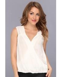 Michl stars venice silk sleeves less surplice hi low shell blouse medium 16631