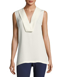Theory Salvatill Sleeveless Silk Top Ivory