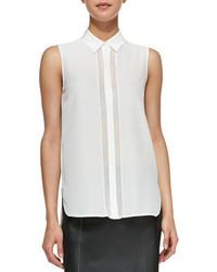 Sheer stripe sleeveless silk blouse white medium 102195