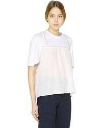 Chloé Cotton Jersey Silk Crepe T Shirt