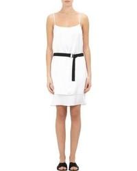 Helmut Lang Silk Popover Belted Slipdress White