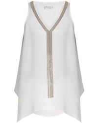 Brunello Cucinelli Monili Embellished Silk Tank Top