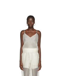 Arch The Off White Silk V Neck Tank Top
