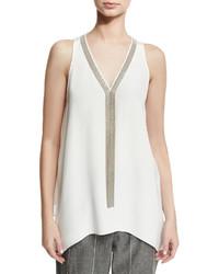 Brunello Cucinelli Sleeveless Silk Tunic With Monili Necklace White