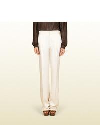 Gucci Pearl White Silk Twill Wide Leg Pant