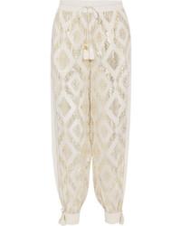 Rachel Zoe Metallic Fil Coup Silk Blend Wide Leg Pants Ivory