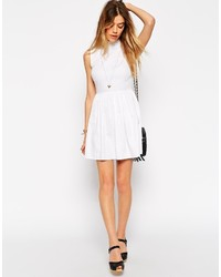 4312803c26 ... Asos Petite Cotton Skater Dress With High Neck And Button Back ...