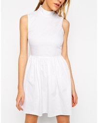 a7f2570924 ... Asos Petite Cotton Skater Dress With High Neck And Button Back