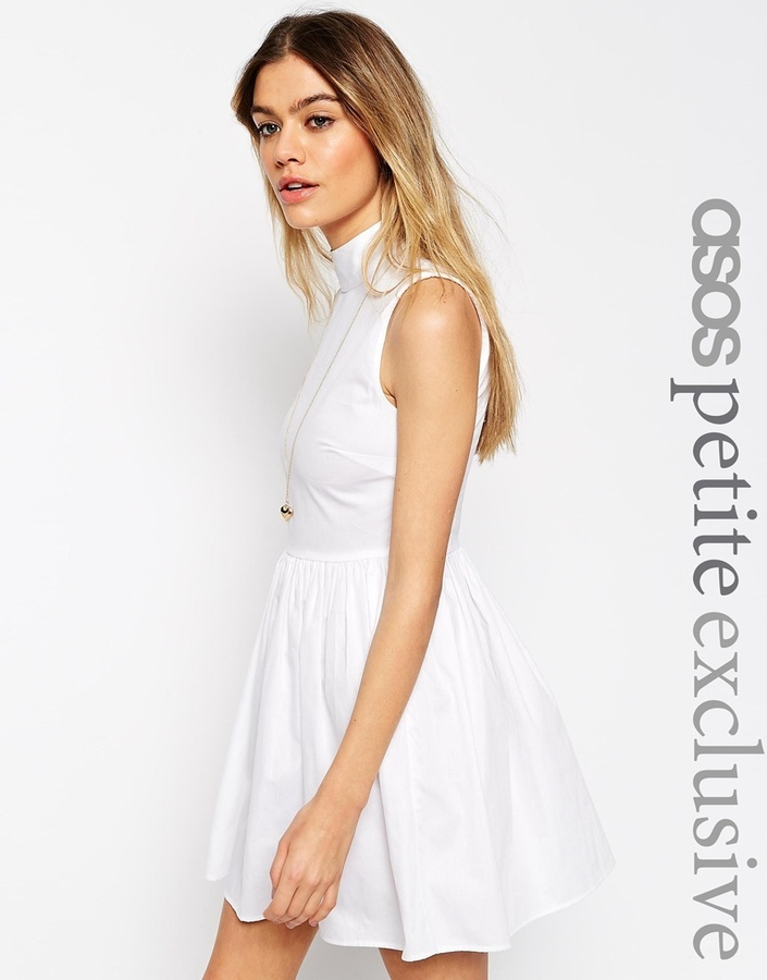329cb4dc6f ... White Skater Dresses Asos Petite Cotton Skater Dress With High Neck And Button  Back ...