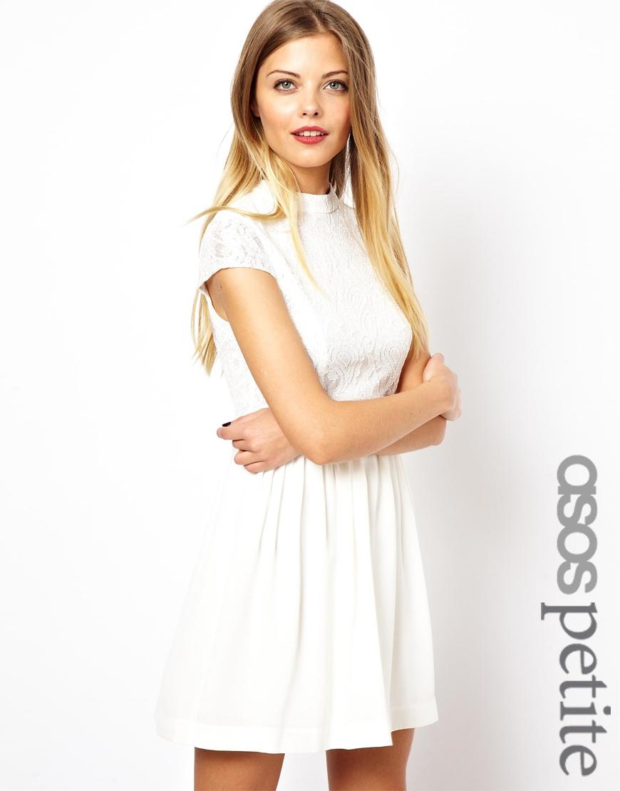 e5a85a8518 ... Asos Petite Lace Skater Dress With High Neck