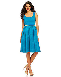 Donna Morgan Belted Eyelet Fit And Flare Dress