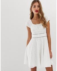 Forever New Broderie Anglais Tuck Waist Midi Dress In White