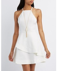 Charlotte Russe Bib Neck Ruffled Skater Dress