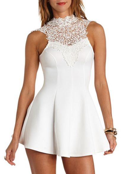 3bafc6711b ... Charlotte Russe Crochet Lace Mock Neck Skater Dress ...