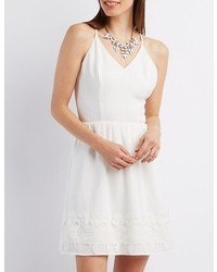 Charlotte Russe Strappy Crochet Trim Skater Dress