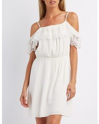 Charlotte Russe Crochet Trim Cold Shoulder Dress