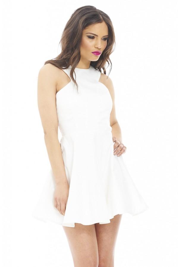 774bbede0f03 ... AX Paris Cut In Neck Plain Kick Out Skater Cream Dress Online ...