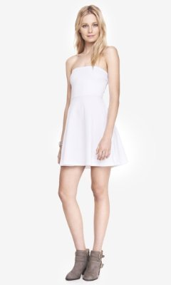 26ab296db371 ... Express White Strapless Stretch Cotton Skater Dress ...