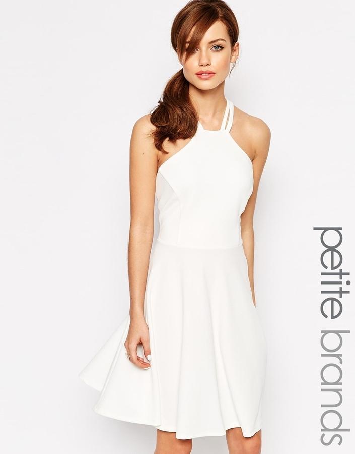 59223022c ... White Skater Dresses Lipstick Boutique Petite Strappy Backless Skater  Dress ...