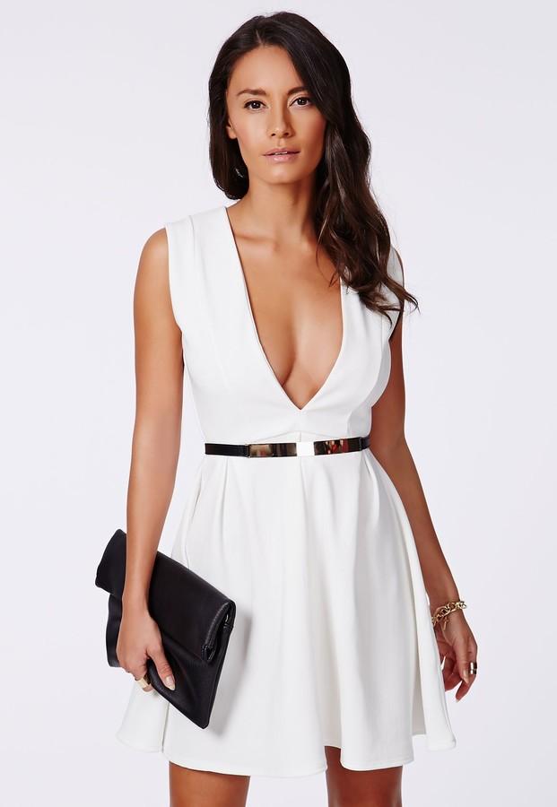... shop 3d282 f7d63 Gale Ribbed Box Pleat Skater Dress White ... 7e0d2dd13