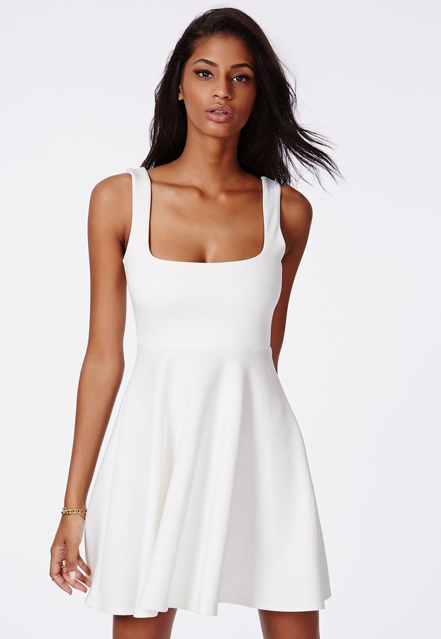 7c6d9213a9cc ... Missguided Hazel Scuba Skater Dress White ...