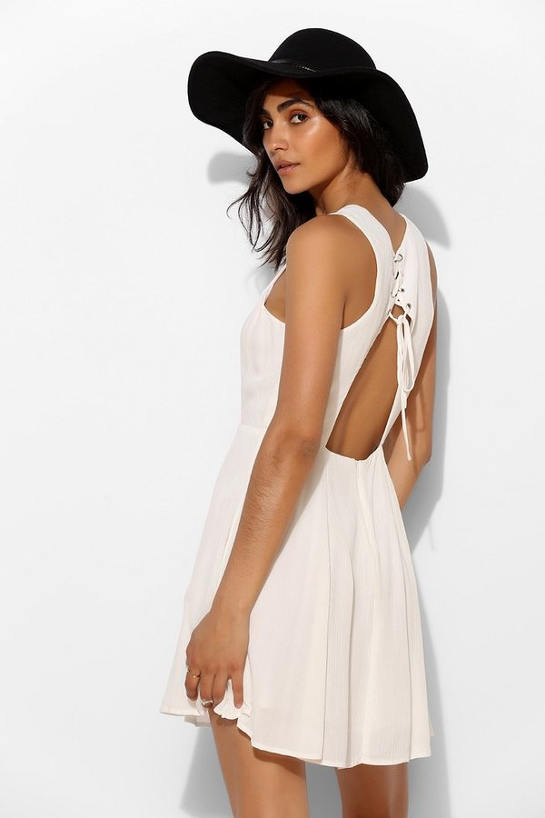 Uo Pins And Needles Fiona Lace Up Back Skater Dress