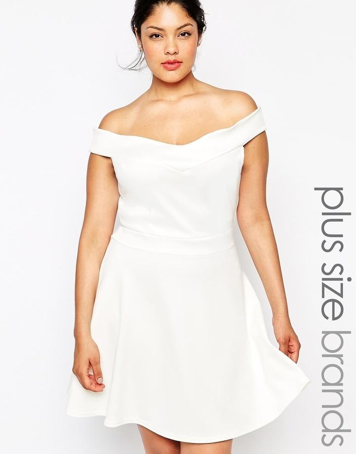 $69, Bardot Praslin Plus Size Scuba Skater Dress