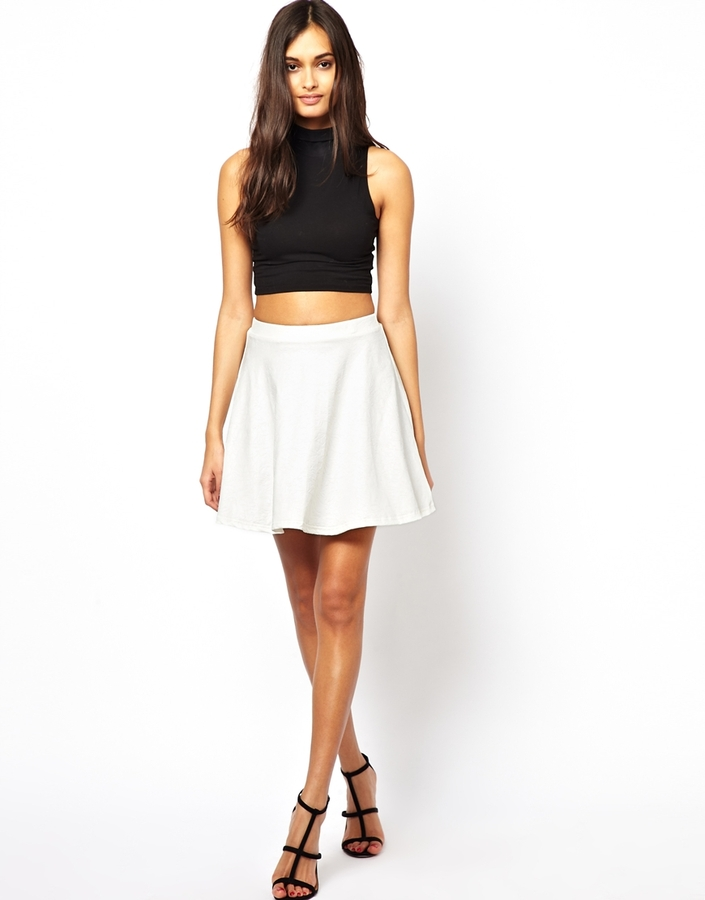 2a8b11bdd Club L Embossed Leather Look Skater Skirt White, $37 | Asos ...