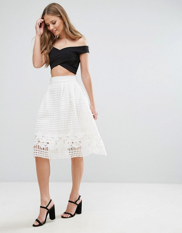5bd22e200316 ... White Skater Skirts Forever Unique Skater Skirt With Mesh Overlay ...