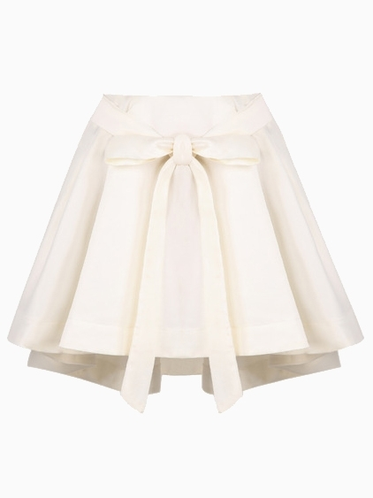 ... Choies White Bow Front Structured Pleated Skirt With Extreme Dip Back  ... d8d96c87354
