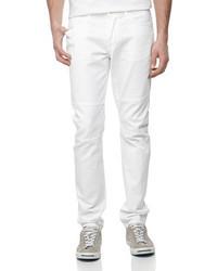 Vince Denim Skinny Moto Jeans White