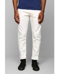 UO Japan Blue Ankle Cut Tapered White Skinny Jean