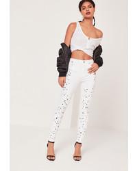 Missguided High Waisted Paint Splatter Knee Skinny Jeans White