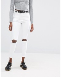 Asos Ridley High Waist Skinny Jeans In White With Busted Knee Rips