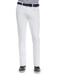Ermenegildo Zegna Slim Fit Five Pocket Denim Jeans White