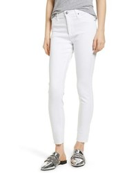 AG The Farrah High Waist Raw Hem Ankle Skinny Jeans