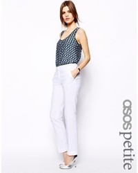 Asos Petite Linen Trousers In Straight Leg